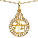 0.29CTW White Cubic Zirconia Brass Gold Plated Lord Shri Rama Symbol Shape Pendant