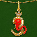 """3.60 Grams White Cubic Zirconia Orange, White & Black Enamel Gold Plated Brass Lord Ganesha With Om Shape Pendant"""