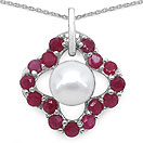 3.59CTW Genuine Ruby & Pearl .925 Sterling Silver Pendant