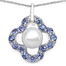 3.04CTW Genuine Tanzanite & Pearl .925 Sterling Silver Pendant