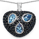 3.61CTW Genuine Blue Topaz & Black Spinel .925 Sterling Silver Heart Shape Pendant