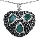 3.10CTW Genuine Emerald & Black Spinel .925 Sterling Silver Heart Shape Pendant