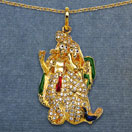 6.30 Grams White Cubic Zirconia Multicolor Enamel Gold Plated Brass Lord Radha Krishna Shape Pendant