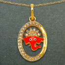 3.50 Grams White Cubic Zirconia Multicolor Enamel Gold Plated Brass Lord Ganesha Shape Pendant