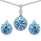 16.85 CTW Genuine Blue Topaz .925 Sterling Silver Carving Pendant Set