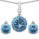 14.44 CTW Genuine Blue Topaz & White Cubic Zirconia .925 Sterling Silver Carving Pendant Set