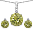 10.43 CTW Genuine Lemon Topaz & White Cubic Zirconia .925 Sterling Silver Carving Pendant Set