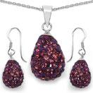 5.24 Grams Purple Crystal .925 Sterling Silver Drop Shape Pendant Set