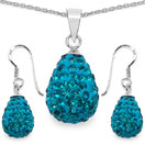 4.94 Grams Turquoise Crystal .925 Sterling Silver Drop Shape Pendant Set
