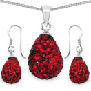 4.84 Grams Red Crystal .925 Sterling Silver Drop Shape Pendant Set