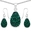 4.94 Grams Green Crystal .925 Sterling Silver Drop Shape Pendant Set