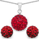 3.34 Grams Red Crystal .925 Sterling Silver Ball Shape Pendant Set