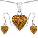 1.48CTW Yellow Crystal .925 Sterling Silver Heart Shape Pendant Set