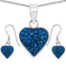 1.48CTW Blue Crystal .925 Sterling Silver Heart Shape Pendant Set