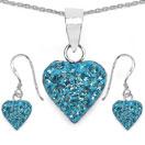 1.48CTW Sky Blue Crystal .925 Sterling Silver Heart Shape Pendant Set