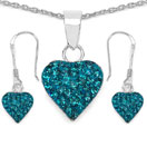 1.48CTW Turquoise Color Crystal .925 Sterling Silver Heart Shape Pendant Set