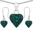 1.48CTW Green Crystal .925 Sterling Silver Heart Shape Pendant Set