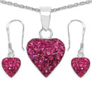 1.48CTW Pink Crystal .925 Sterling Silver Heart Shape Pendant Set