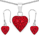 1.48CTW Red Crystal .925 Sterling Silver Heart Shape Pendant Set