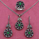 22.70 Grams Green Onyx & White Cubic Zirconia Black Rhodium Plated Silver & Copper Pendant Set