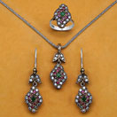 """22.90 Grams Green Onyx, Red Onyx & White Cubic Zirconia Black Rhodium Plated Silver & Copper Pendant Set"""