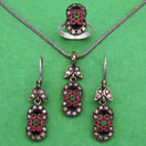 """21.60 Grams Green Onyx, Red Onyx & White Cubic Zirconia Black Rhodium Plated Silver & Copper Pendant Set"""