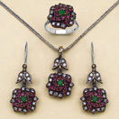 """24.90 Grams Green Onyx, Red Onyx & White Cubic Zirconia Black Rhodium Plated Silver & Copper Pendant Set"""