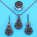 """23.80 Grams Green Onyx, Red Onyx & White Cubic Zirconia Black Rhodium Plated Silver & Copper Pendant Set"""