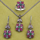 """22.00 Grams Green Onyx, Red Onyx & White Cubic Zirconia Black Rhodium Plated Silver & Copper Pendant Set"""