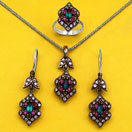 """22.60 Grams Green Onyx, Red Onyx & White Cubic Zirconia Black Rhodium Plated Silver & Copper Pendant Set"""