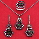"""23.60 Grams Green Onyx, Red Onyx & White Cubic Zirconia Black Rhodium Plated Silver & Copper Pendant Set"""