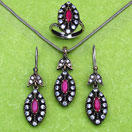 25.20 Grams Red Onyx & White Cubic Zirconia Black Rhodium Plated Silver & Copper Pendant Set