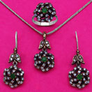 22.90 Grams Green Onyx & White Cubic Zirconia Black Rhodium Plated Silver & Copper Pendant Set