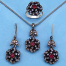 22.50 Grams Red Onyx & White Cubic Zirconia Black Rhodium Plated Silver & Copper Pendant Set
