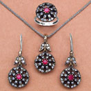 22.90 Grams Red Onyx & White Cubic Zirconia Black Rhodium Plated Silver & Copper Pendant Set