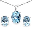 4.50CTW Genuine Blue Topaz .925 Sterling Silver Oval Shape Pendant Set