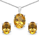3.28CTW Genuine Citrine .925 Sterling Silver Oval Shape Pendant Set