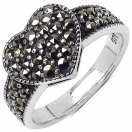 4.60 Grams Marcasite .925 Sterling Silver Heart Shape Ring