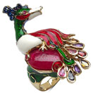 """""""25.00 Grams Multi Tourmaline & Ruby Gold Plated .925 Sterling Silver Peacock Shape Green, Red, White & Blue Enamel Ring"""""""