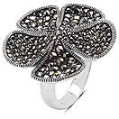 8.10 Grams Marcasite .925 Sterling Silver Flower Shape Ring