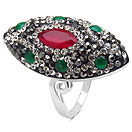 """""""6.80 Grams Red, Green, White & Black Crystal .925 Sterling Silver  Ring"""""""
