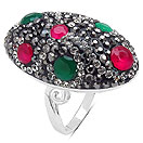 """""""8.30 Grams Red, Green, White & Black Crystal .925 Sterling Silver  Ring"""""""