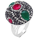 """""""8.00 Grams Red, Green, White & Black Crystal .925 Sterling Silver  Ring"""""""