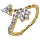 1.30 Grams White Cubic Zirconia Gold Plated Brass Flower Shape Ring