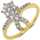 1.40 Grams White Cubic Zirconia Gold Plated Brass Flower Shape Ring