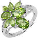 2.80CTW Genuine Peridot .925 Sterling Silver Ring