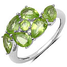 2.50CTW Genuine Peridot .925 Sterling Silver Ring