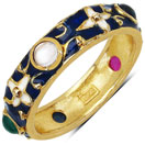 4.60 Grams Multi Tourmaline Gold Plated .925 Sterling Silver Multicolor Enamel Ring