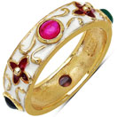 4.00 Grams Multi Tourmaline Gold Plated .925 Sterling Silver Multicolor Enamel Ring