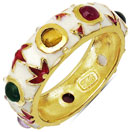 3.30 Grams Multi Tourmaline Gold Plated .925 Sterling Silver Multicolor Enamel Ring